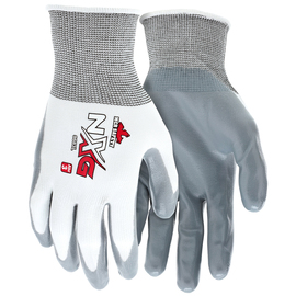 MCR Safety® Small UltraTech® 15 Gauge Gray Nitrile Palm And Fingertips Coated Work Gloves With White Nylon Liner And Knit Wrist
