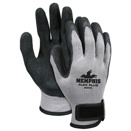 MCR Safety® Large FlexTuff® 10 Gauge Black Latex Palm And Fingertips Dipped Coating Work Gloves With Gray Cotton And Polyester Liner And Hook And Loop Cuff