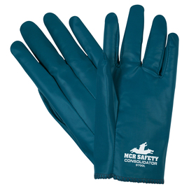 MCR Safety® X-Large Consolidator® Blue Premium Nitrile Work Gloves With White Nitrile Liner And Slip-On Cuff