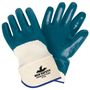 MCR Safety® Medium Predator® Blue Premium Nitrile Three-Quarter Coating Work Gloves With Natural Jersey Liner And Safety Cuff