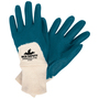 MCR Safety® Small Predalite® Blue Light Nitrile Three-Quarter Coating Work Gloves With Natural Interlock Liner And Knit Wrist