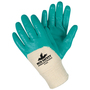 MCR Safety® Large Predatouch™ Aqua Green Premium Nitrile Three-Quarter Coating Work Gloves With Natural Premium Fine Interlock Liner And Knit Wrist