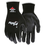 MCR Safety® Large Ninja® X 15 Gauge Black Bi-Polymer Palm And Fingertips Coated Work Gloves With Black Nylon And Lycra Liner And Knit Wrist