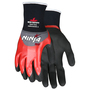 MCR Safety® Large Ninja® 18 Gauge Red Flat Nitrile Over The Knuckles Coated/Black Breathable Nitrile Foam And NFT® Palm And Fingertip Coated Work Gloves With Gray Nylon And Spandex Liner And Knit Wrist