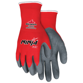 MCR Safety® Large Ninja® Flex 15 Gauge Gray Latex Palm And Fingertips Coated Work Gloves With Red Nylon Liner And Knit Wrist