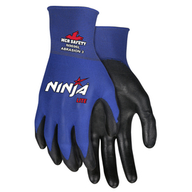 MCR Safety® X-Large Ninja® Lite 18 Gauge Black Latex Free Polyurethane Palm And Fingertips Coated Work Gloves With Blue Athletic Grade Nylon Liner And Knit Wrist