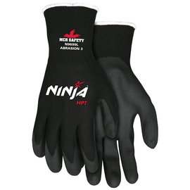 MCR Safety® Large Ninja® HPT 15 Gauge Black Foam HPT Palm And Fingertips Coated Work Gloves With Black Nylon Liner And Knit Wrist