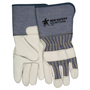 MCR Safety Large Blue, Yellow And Black Premium Grain Cowhide Palm Gloves With Fabric Back And Rubberized Gauntlet Cuff