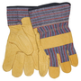 MCR Safety Large Blue, Red And Black Industrial Grade Pigskin Palm Gloves With Fabric Back And Starched Safety Cuff