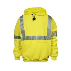 National Safety Apparel® Medium Hi-Viz Yellow VIZABLE® FR Modacrylic/Cotton Blend Hooded Pullover Sweatshirt