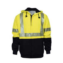 National Safety Apparel® 2X Hi-Viz Yellow And Navy VIZABLE® FR Fleece Hooded Zip-Up Sweatshirt With Waffle Weave Liner