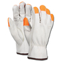 Memphis Glove Medium White And Hi-Viz Orange Competitive Value Cowhide Unlined Drivers Gloves