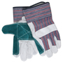 MCR Safety Large Blue, Red, Black And Green Select Shoulder Double Leather Palm Gloves With Fabric Back And Rubberized Safety Cuff