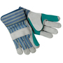 MCR Safety Large Blue, Yellow, Black And Green Select Shoulder Double Leather Palm Gloves With Fabric Back And Plasticized Safety Cuff