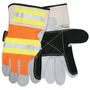 MCR Safety Large Hi-Viz Orange, Yellow And Black Select Shoulder Double Leather Palm Gloves With Reflective Stripe Back And Rubberized Safety Cuff