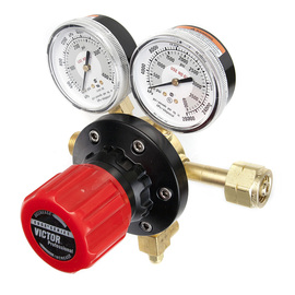 Victor® Model ESS7-200-350 EDGE™ Series Extra High Capacity Methane Or Hydrogen Calibration Single Stage Regulator With Red SLAM™ Safety Knob And Built-In Gauge Guard, CGA-350