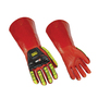 Ansell Size 12 Black And Hi-Viz Green Over Red RINGERS GLOVES® 074 PVC Chemical Resistant Gloves