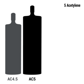 Industrial Grade Acetylene, Size 5 Acetylene Cylinder, CGA-300 (Actual Volume Of Gas In The Cylinder May Fluctuate Based On Numerous Conditions)