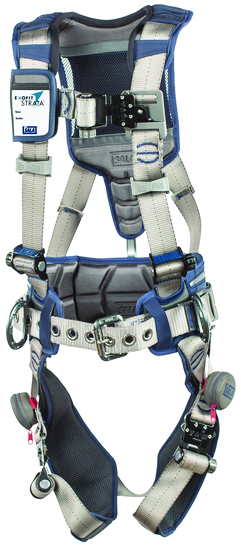 3M™ DBI-SALA® X-Large ExoFit STRATA™ Contruction Style Harness With Aluminum Back And Side D-rings, Tri-Lock Revolver™ Quick Connect Buckles, Waist Pad And Belt