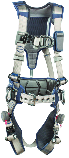 3M™ DBI-SALA® Small ExoFit STRATA™ Construction Style Harness With Aluminum Back, Front And Side D-Rings, Tri-Lock Revolver™ Quick Connect Buckles, Waist Pad And Belt