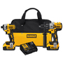 DEWALT® 20V MAX* XR 20 Volt 2000 - 3250 rpm Cordless Impact Wrench/Hammerdrill Combo Kit