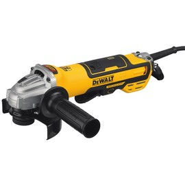 A DEWALT Cordless Small Angle Grinder, battery and carrying case over a solid white background.