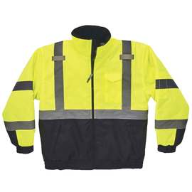 Ergodyne 2X Hi-Viz Green And Black GloWear® 8377 300D Oxford Polyester/Polyurethane Weatherproof Quilted Thermal Bomber Jacket