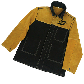 ESAB® X-Large Black And Gold Proban® And Leather Flame Retardant Jacket With Snap Closure, Grade-A Leather Sleeves And Shoulders