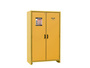 Justrite® 45 Gallon Yellow Melamine Resin And Steel EN Flammable Safety Cabinet With (3) Adjustable Shelves And (2) Self-Closing Flame Retardant Doors