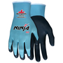 MCR Safety® Small Ninja® 15 Gauge Gray Feather Lite Technology Palm And Fingertip Coated Work Gloves With Light Blue Nylon And Spandex Liner And Knit Wrist