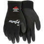 MCR Safety® Large Black Ninja® ICE 15 Gauge Nylon, Acrylic Terry Lined Cold Weather Gloves With HPT Coated Palm And Fingertips