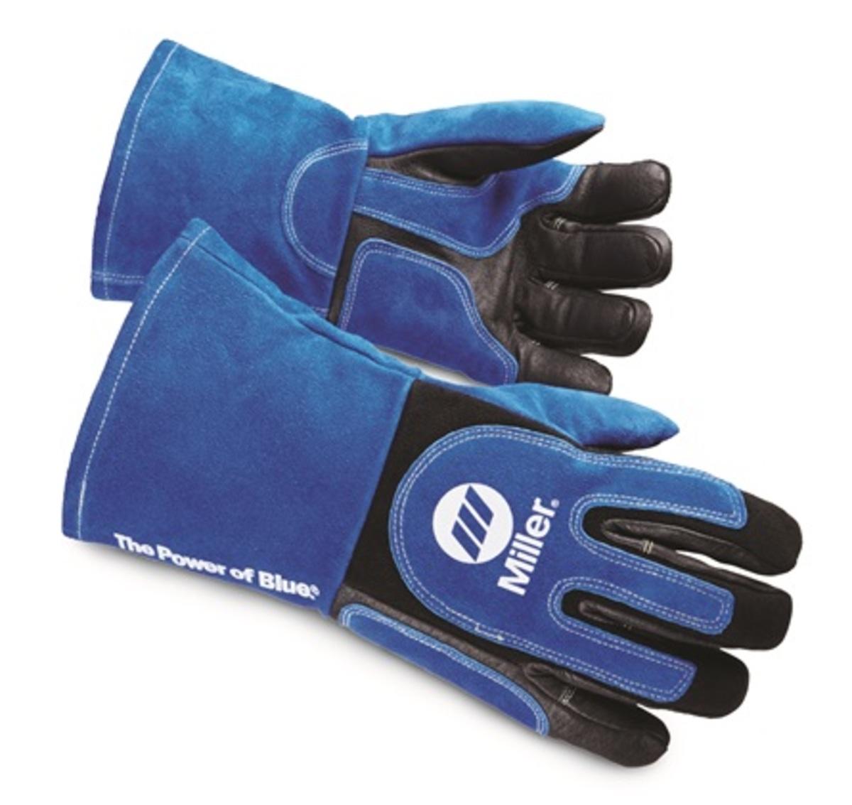 Miller Large Blue And Black Premium Pigskin And Split Cowhide Unlined MIG/Stick Welders Gloves