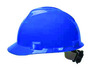 MSA Blue V-Gard® Polyethylene Standard Slotted Cap Style Hard Hat With Fas Trac® 4 Point Ratchet Suspension