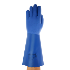 Ansell Size 10 Blue Marigold® Multiplus 40, Cotton Lined PVC And Nitrile Chemical Resistant Gloves
