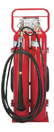 Amerex® 50 Pound Carbon Dioxide 20-B:C Wheeled Fire Extinguisher For Class B And C Fires With T-Handle And Horn Mounted Shut-Off Valve, Hose And 16