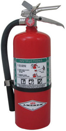 Amerex® 9 Pound Halon 1211 1A:10B:C Fire Extinguisher For Class A, B And C Fires With Chrome Plated Brass Valve, Wall Bracket And Hose