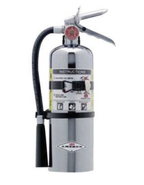 Amerex® 5 Pound Stored Pressure ABC Dry Chemical 2A:10B:C Chrome Plated Steel Multi-Purpose Fire Extinguisher For Class A, B And C Fires With Anodized Aluminum Valve, Vehicle/Marine Bracket, Hose And Nozzle