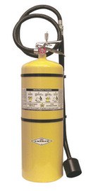 Amerex® 30 Pound Stored Pressure Copper Fire Extinguisher For Class D Fires With Chrome Plated Brass Valve, Wall Bracket, Hose, Horn And Wand Applicator