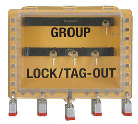 Accuform Signs® Yellow Group Lockout View Box With Hinge Cover