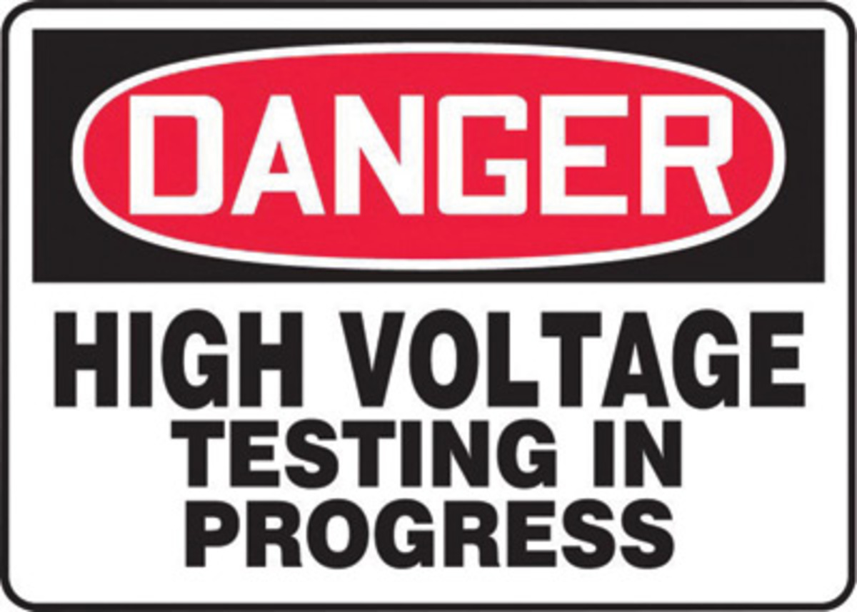 High Voltage Testing : Airgas a melc va accuform signs quot red
