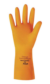 Ansell Size 10 Orange 208 Cotton Flock Lined 29 mil Latex And Rubber Chemical Resistant Gloves