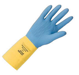 Ansell Size 8 Blue/Yellow Chemi-Pro® Cotton Flock Lined 27 mil Natural Rubber Latex And Neoprene Chemical Resistant Gloves