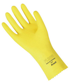 Ansell Size 8 Yellow FL200 Flock Lined 20 mil Latex And Rubber Chemical Resistant Gloves