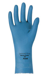Ansell Size 10 Blue Natural Blue™ Unlined Lined 17 mil Latex And Rubber Chemical Resistant Gloves