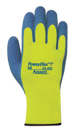 Ansell Size 7 Blue And Hi-Viz Yellow PowerFlex® T Thermal Terry Cloth Lined Cold Weather Gloves With Knit Wrist And Natural Rubber Latex Coated Palm
