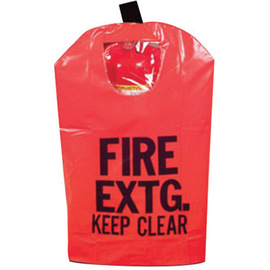 Brooks Red Reinforced Vinyl Large Fire Extinguisher Cover With Window, Hook And Loop Closure For Use With Portable, Pressurized And Cartridge-Operated Fire Extinguishers
