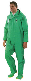 Dunlop® Protective Footwear X-Large Green Chemtex .42 mm PVC On Nylon Polyester Coveralls With Attached Hood