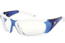 MCR Safety® ForceFlex® Durable Ultra-Flexible Blue And White Safety Glasses With Clear Anti-Fog/Anti-Scratch Lens (Lead time for this product may be longer than normal.)