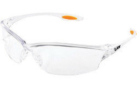Crews® Law® 2 Safety Glasses With Clear Nylon Frame, Clear Polycarbonate Duramass® Anti-Scratch Lens And TPR Nose Pad And Orange Temple Sleeve