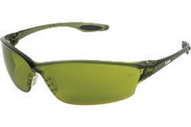 Crews® Law® 2 Safety Glasses With Green Nylon Frame, Shade 2.0 Polycarbonate Duramass® Anti-Scratch Lens And TPR Nose Pad And Black Temple Sleeve
